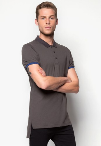 Elongated Polo Tee With Florecent Tipping Detail