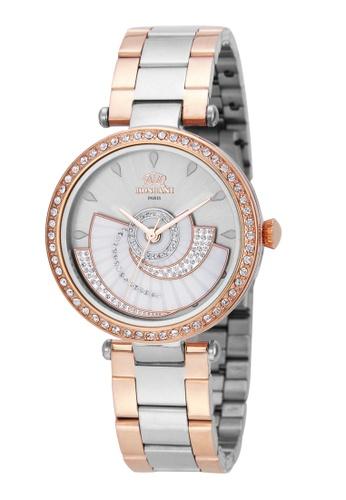 Roscani 金色 Roscani Jeanne E35 (360度旋轉 + 陽光錶面) 白面混色 不銹鋼錶帶 女表 688F7AC3FB623AGS_1
