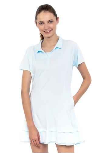 Huitieme blue HUITIÈME DRI FIT FRILLY COLLARED LIGHT BLUE DRESS. 6F848AADAD2608GS_1