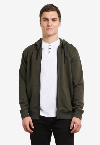 Burton Menswear London 綠色 休閒運動連帽外套 BU964AA0SHOAMY_1