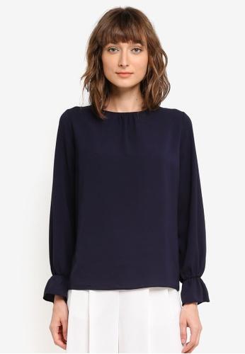 Dorothy Perkins navy Cuff Sleeve Blouse DO816AA0SSZNMY_1