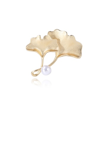 Glamorousky white Fashion Simple Plated Gold Ginkgo Leaf Brooch with Imitation Pearls C850BAC12B1095GS_1