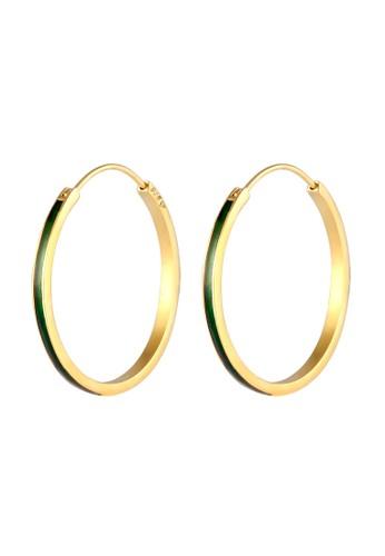 Elli Germany green Perhiasan Wanita Perak Asli - Silver Anting Creoles Enamel Lapis Hijau D52C3ACA129184GS_1