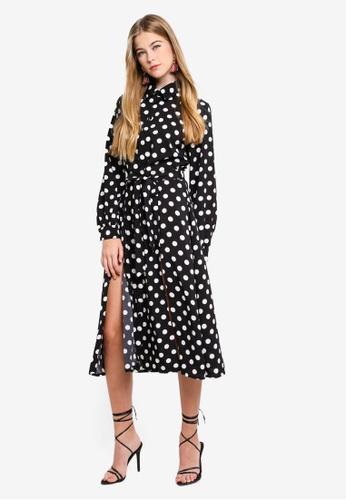 MISSGUIDED black Polka Dot Midi Shirt Dress 8C1ECAAD5F95DBGS_1