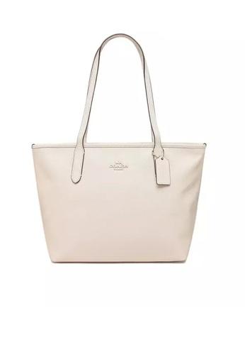 Coach white COACH ZIP TOP TOTE BAGS (83857) - IM/CHALK C052FACF9D49F1GS_1