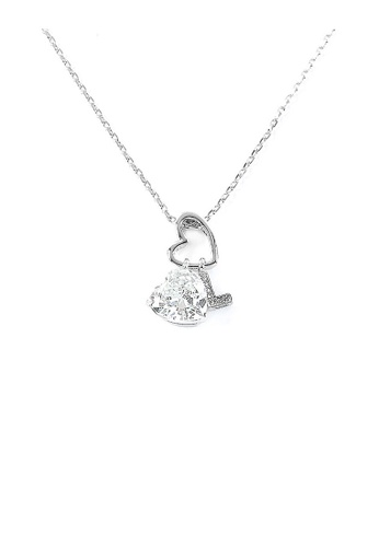 Glamorousky silver Elegant Heart Shape Pendant with CZ and character L charms 822BBACD250D43GS_1