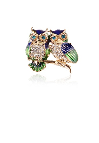 Glamorousky white Fashion and Cute Plated Gold Double Owl Brooch with Cubic Zirconia 7ADDBAC421986FGS_1
