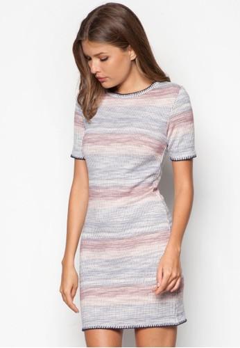 彩色條紋連身裙, 服飾,zalora開箱 洋裝