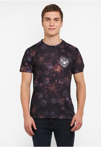 Burton Menswear London black Black All Over Floral T-Shirt With Left Chest Print BU964AA0SILQMY_1