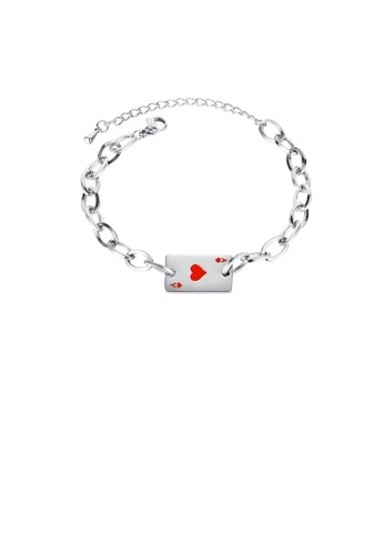 Glamorousky silver Fashion Creative Red Heart A Poker Card 316L Stainless Steel Bracelet D9926ACEFA3978GS_1