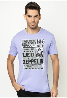 Men's Round Neck with Print Led Zepellin T-shirt