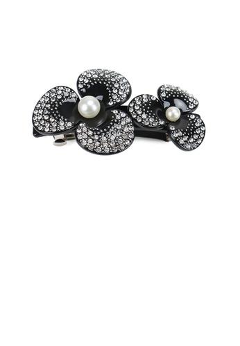 Glamorousky white Fashion and Elegant Double Flower Imitation Pearl Hair Slide with White Cubic Zirconia 1DF82AC61FB33DGS_1