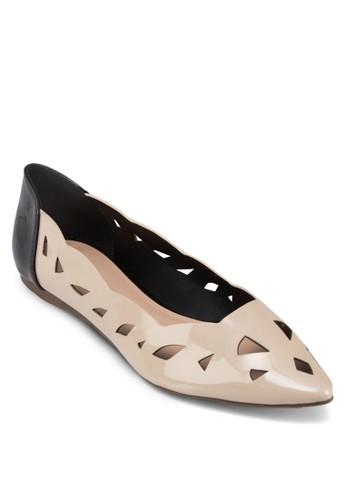 鏤空拼色尖頭平底zalora 順豐鞋, 女鞋, 芭蕾平底鞋