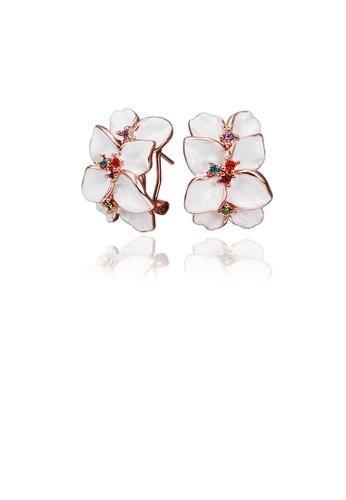 Glamorousky silver Fashion Elegant Plated Rose Gold White Flower Stud Earrings with Cubic Zircon CA233AC9896FD1GS_1