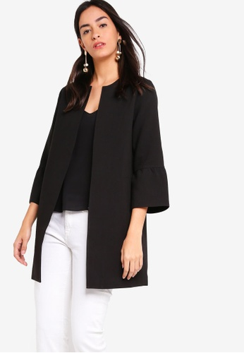 ZALORA black Frilled Cuff Coat 9159AAA17148E0GS_1