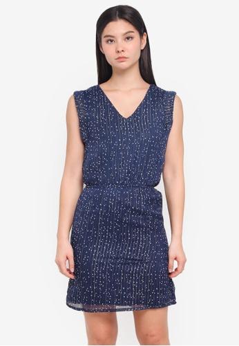 ICHI blue Blossa Dress A1175AA8465D79GS_1