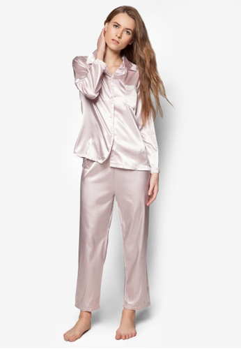 Impression pink Satin Shirt and Pants Set IM021AA96OUXSG_1