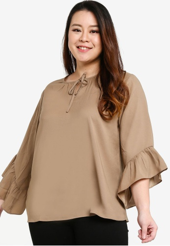 Ex'otico brown Frilly Sleeve Blouse C2FE9AA6F9C138GS_1