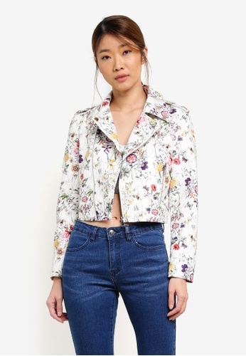 Something Borrowed white Printed Faux Leather Biker Jacket 203A5ZZ4BEF2D5GS_1