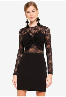 8154f135cb Black Lace Panel Long Sleeve Dress 9F939AAB22EDAAGS 1
