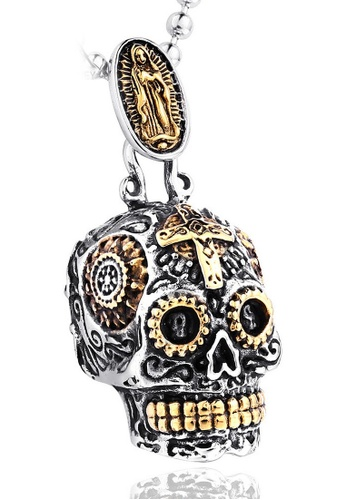 LYCKA silver J171089 316L titanium steel carved Virgin skull necklace - gold LY529AC0GVE5SG_1