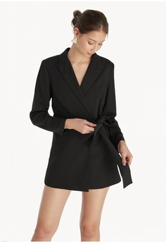ed8cda0bfac7 Pomelo black Side Wrap Romper - Black 3B392AAE5DFAA9GS 1