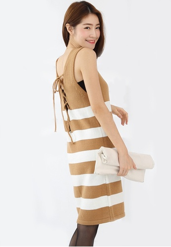 Sesura brown Knit Sleekness Stripes Dress 84852AA828C769GS_1