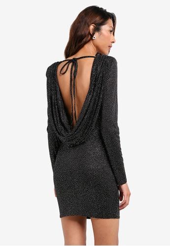 Goddiva black Glitter Cowl Back Mini Dress With Sleeves 4DE3EAA1F95844GS_1