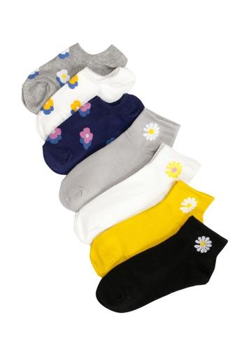 Shu Talk multi 7 pairs Set Mixed Floral Cotton Blend Boat Socks 22196AA3EB6228GS_1