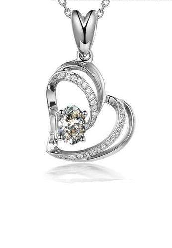 LYCKA silver LFF1245-LYCKA-S925 Silver White Zircon Romanic Heart Necklace -Silver LY529AC0HACTSG_1