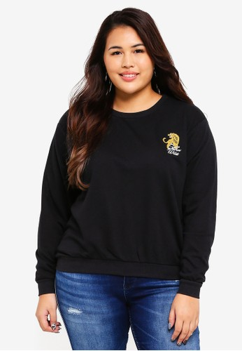 Only CARMAKOMA black Plus Size Wild Sweatshirt 3CDF7AA2D08A89GS_1