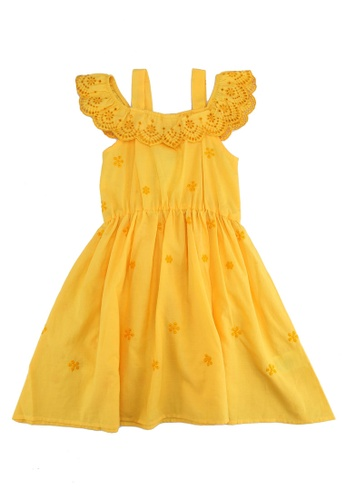 LC Waikiki yellow Scallop Detailed Cotton Dress 9E494KA552EB6DGS_1