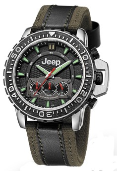 harga Jeep Grand Cherokee Series JPG91001 Chronograph Men's Watch Black Army Green Leather Canvas Nylon Zalora.co.id