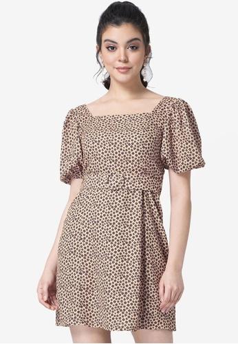 FabAlley beige Beige Ditsy Floral Smocked Belted Dress A02EDAA41DDA78GS_1