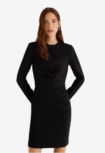 Mango black Gathered Details Dress 11815AA2681F2AGS_1