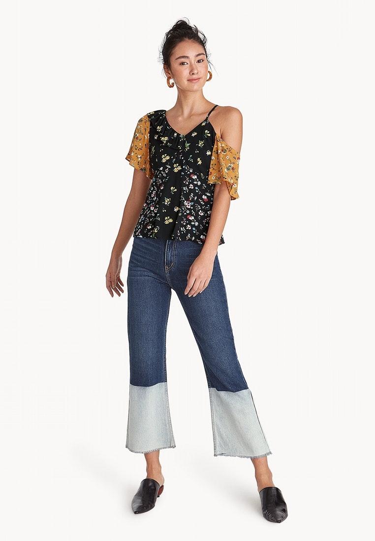 Floral Tone Black Two Pomelo Shirt Asymmetric Shoulder annx8Iv