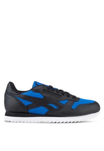 9a1777a7d5f Reebok black and blue Classic Leather Ripple Low Shoes RE691SH80QEDMY 1