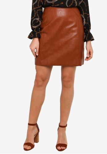 FORCAST brown Maia Pleather Skirt 140E0AA1E30265GS_1