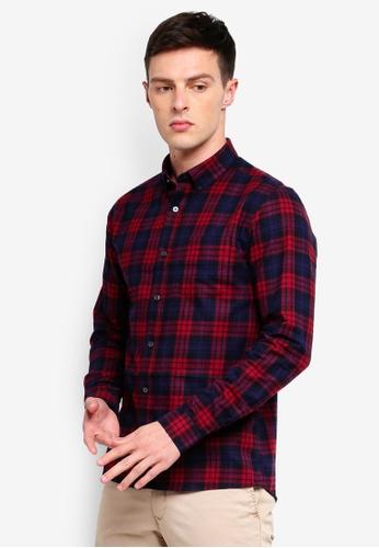 Burton Menswear London 紅色 長袖格紋襯衫 64770AA9AB8367GS_1