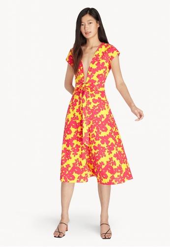 Pomelo yellow Purpose Low Cut Neck Floral Kimono - Yellow 4C70DAA260BBD7GS_1