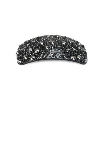 Glamorousky black Fashion Bright Black Geometric Square Hair Slide with Cubic Zirconia 1B7D7AC597BA40GS_1