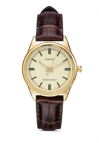 LTP-esprit holdings limitedV005GL-9AUDF 刻度顯示皮革圓錶, 錶類, 飾品配件