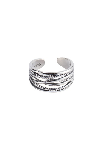 OrBeing 白色 Premium S925 Sliver Geometric Ring 0FE79AC68ED664GS_1