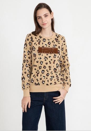Bossini brown Long Sleeve Leopard Sweatshirt 052B0AAC1A1B4CGS_1
