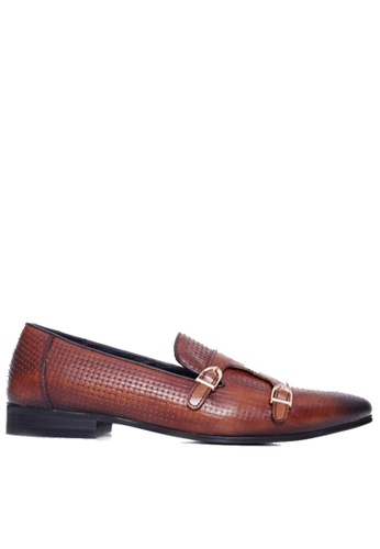 Zeve Shoes brown Zeve Shoes Loafer Slipper - Cognac Tan Double Monk Strap with Woven Leather FE7EBSHAD094C7GS_1