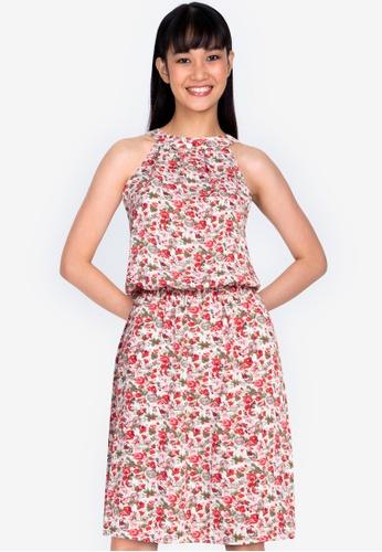 ZALORA BASICS multi Halter Neck Knee Length Dress 4186FAA856E1C8GS_1