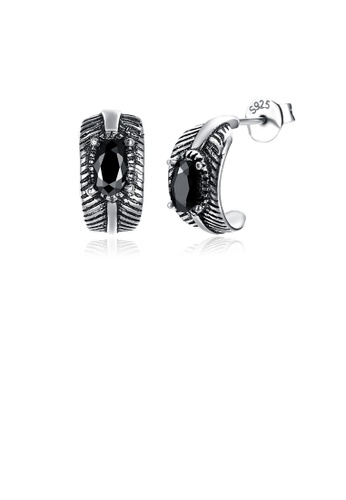 Glamorousky black 925 Sterling Silver Vintage Geometric Umbrella Black Austrian Element Crystal Stud Earrings 3167FAC66F8B9CGS_1