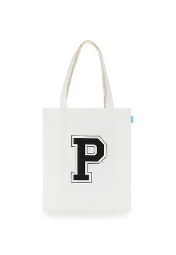 Peeps white Big Logo Eco Bag 4BEA6ACCA2E21FGS_1