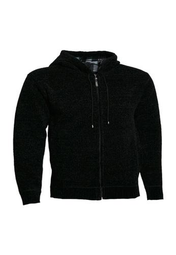 Universal Traveller black Universal Traveller Full Zip Bonded Knitted Sweater With Hood - KS 9148 B6953AA28FEF0BGS_1