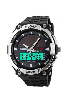 Skmei Water Resistant Solar Sports Watch – Silver
